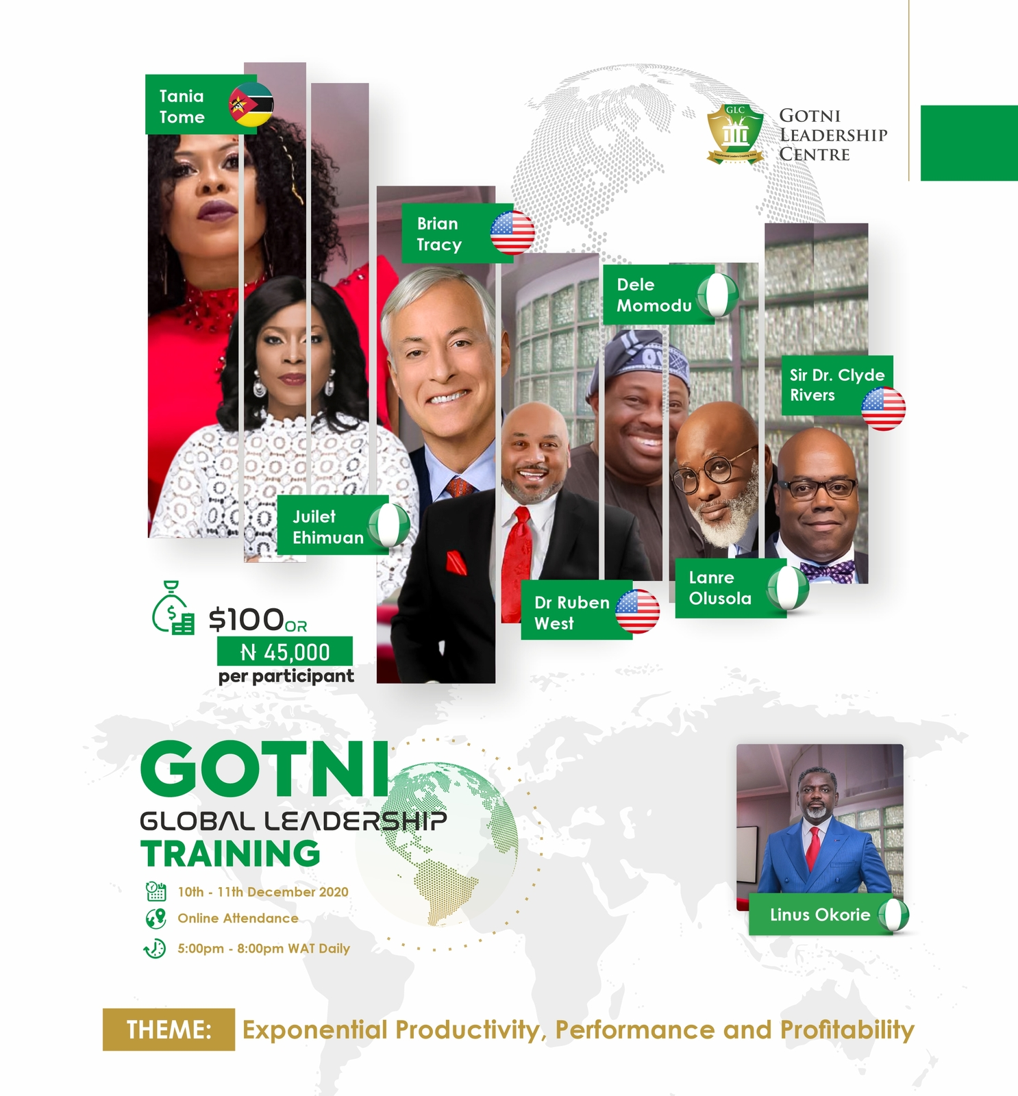 Brian Tracy, Linus Okorie, Juliet Ehimuan & More for 2nd Edition of GOTNI Global Leadership Training