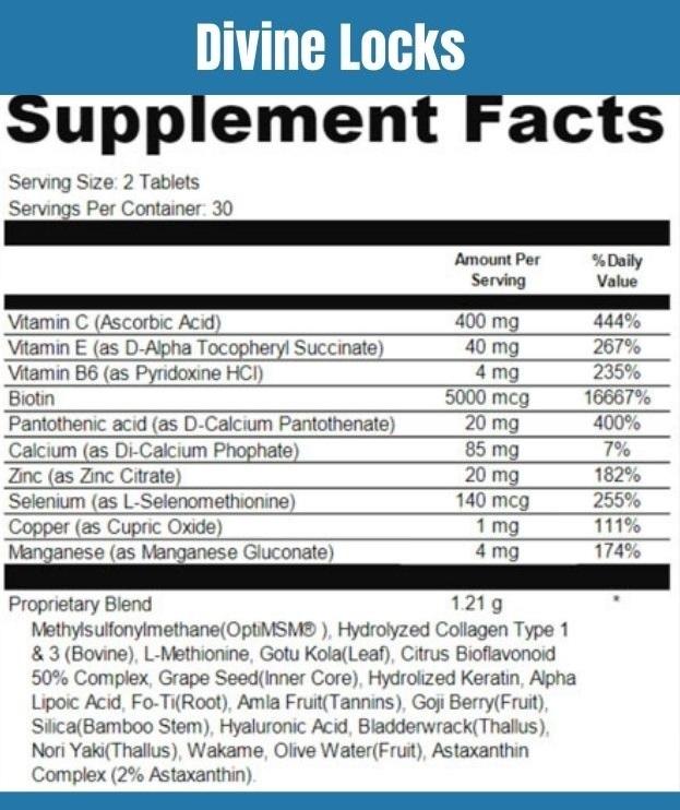 Divine Locks Supplement Facts