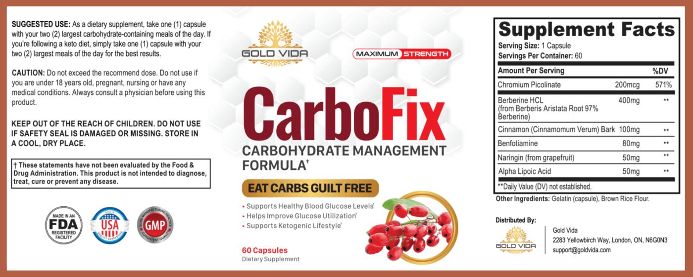 CarboFix Supplement Facts