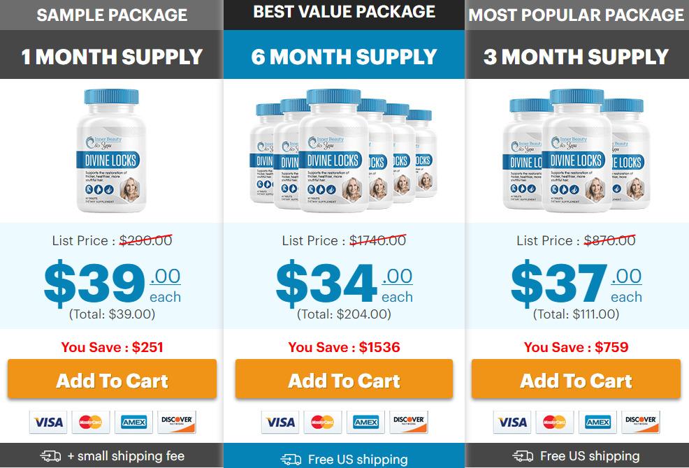 Divine Locks Complex Hair Supplement Pricing Plans