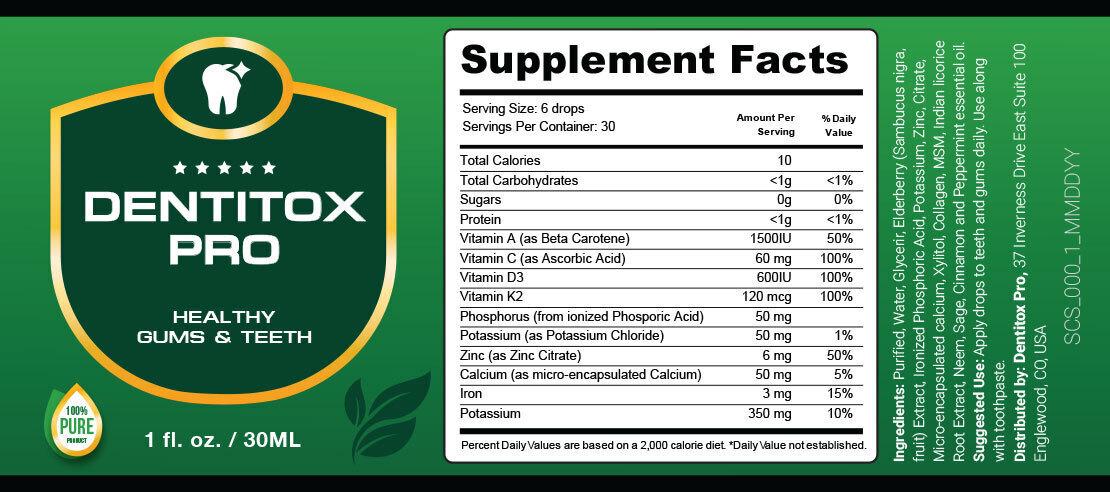 Dentitox Pro Ingredients List