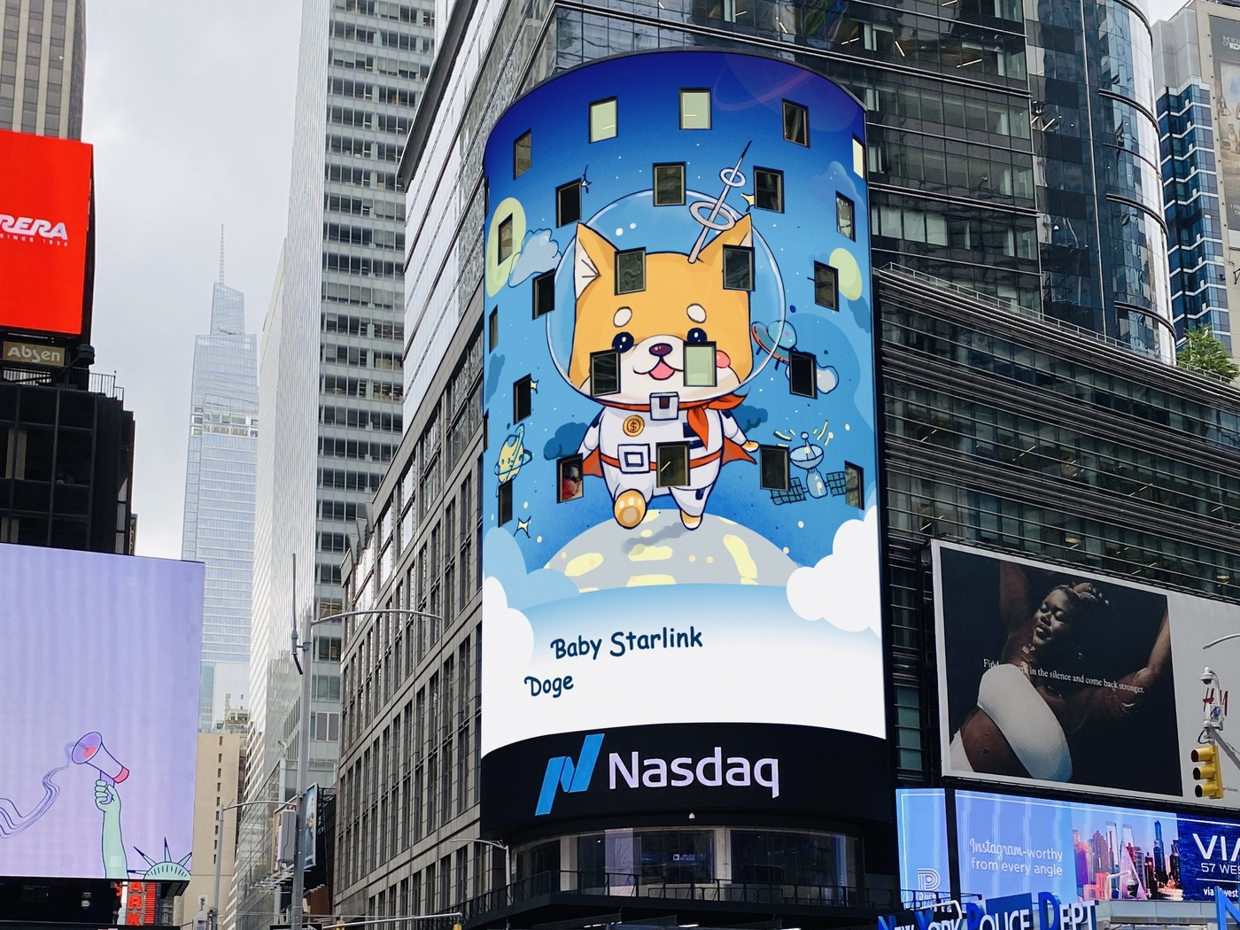 Baby Starlink Doge Displayed On The NASDAQ Giant Screen