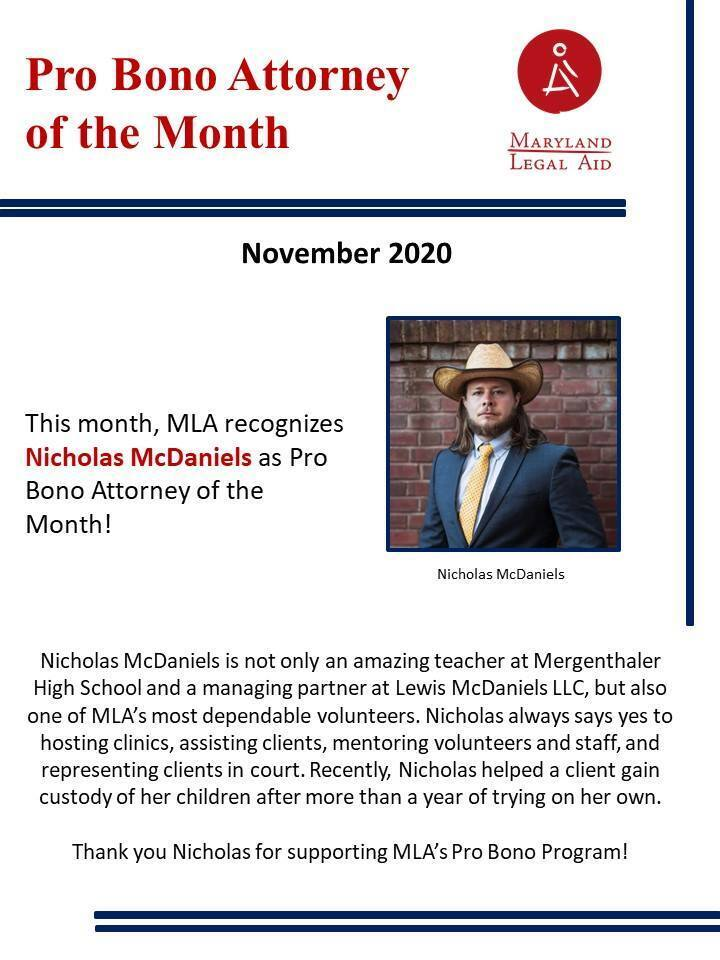 Lewis McDaniels, LLC Partner named Maryland Legal Aid's Pro Bono Attorney of the Month