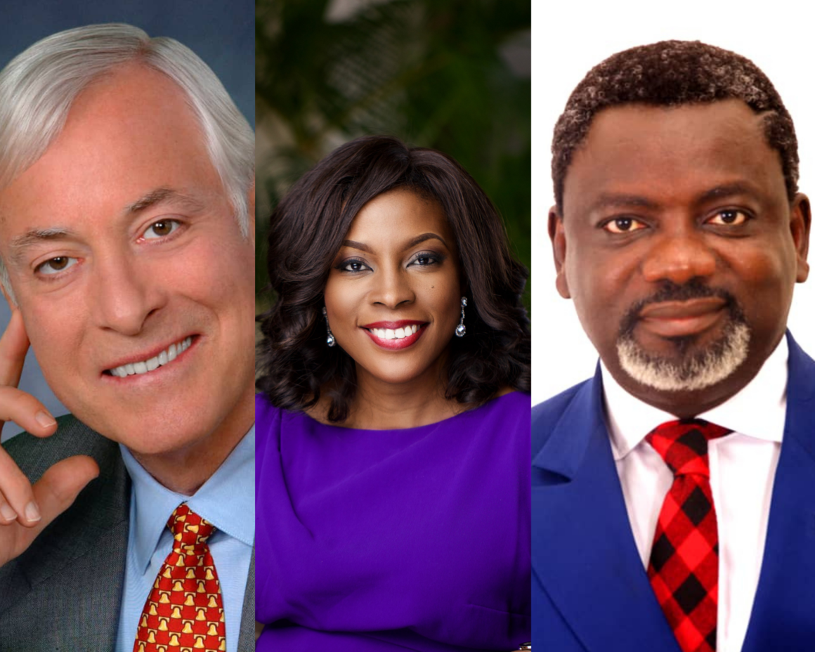 L-R: American Public speaker & self-development author, Brian Tracy; founder, Beyond Limits initiative and Country Director at Google, Juliet Ehimuan and leadership coach & human capital development consultant, Linus Okorie